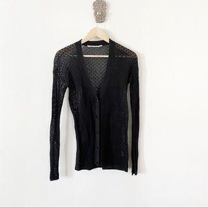 Proenza Schouler Snap Button Lace Knit Cardigan